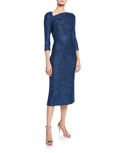 Luxe Sequin Asymmetric-Neck 3/4-Sleeve Tuck Knit Dress