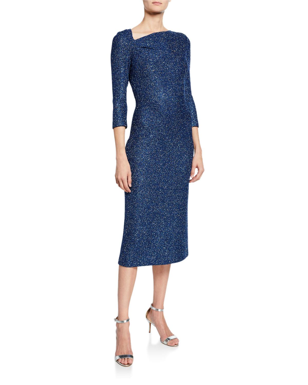 Luxe Sequin Asymmetric-Neck 3/4-Sleeve Tuck Knit Dress