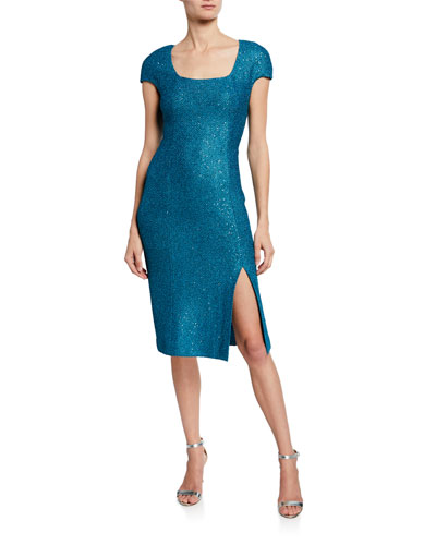 Luxe Sequin Square-Neck Cap-Sleeve Tuck Knit Dress