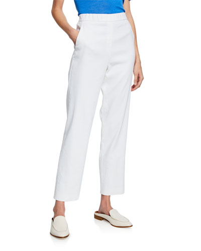 Straight-Leg Stretch-Linen Twill Pull-On Ankle Pants