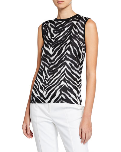 Zebra-Front Knit Pullover Top