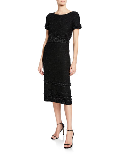 Bateau-Neck Short-Sleeve Glimmering Tweed Dress w/ Fringe Trim