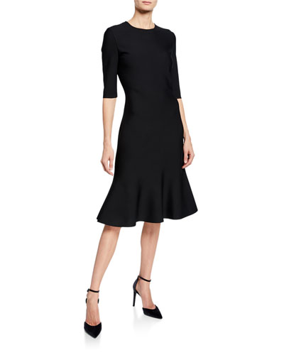 Luxe Sculpture Knit Elbow-Sleeve Fit-and-Flare Dress