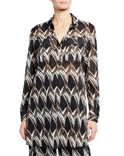 Abstract Floral Tile-Print Button-Down Long-Sleeve Georgette Tunic