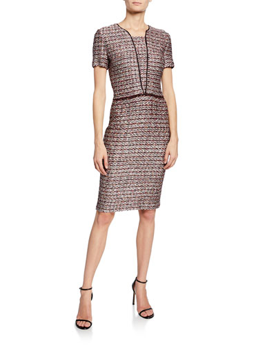 Short-Sleeve Multi Textured Inlay Knit Dress w/ Contrast Silk Trim