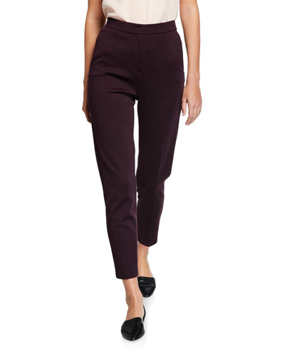 Milano Knit Slim Ankle Pants with Pockets