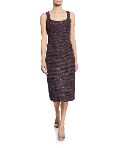 Sequin Tweed Square-Neck Sleeveless Knit Dress w/ Chain Trim