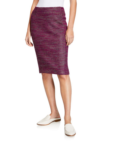 Ombre Ribbon Tweed Pencil Skirt