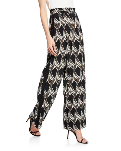 Abstract Floral Tile-Print Silk Georgette Wide-Leg Pants