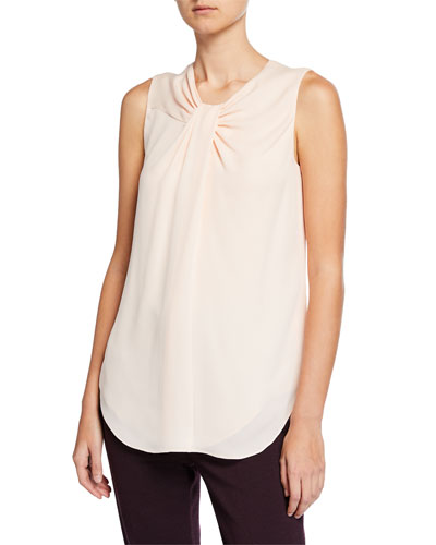 72664dcad116f Quick Look. St. John Collection · Twisted-Neck Silk Georgette Shell Top