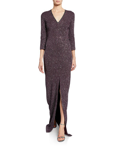 V-Neck Fine Sequin Tweed Gown with Front Slit