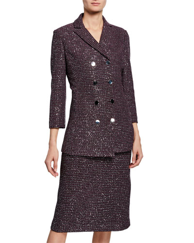 Sequin Tweed Knit Double-Breasted Jacket