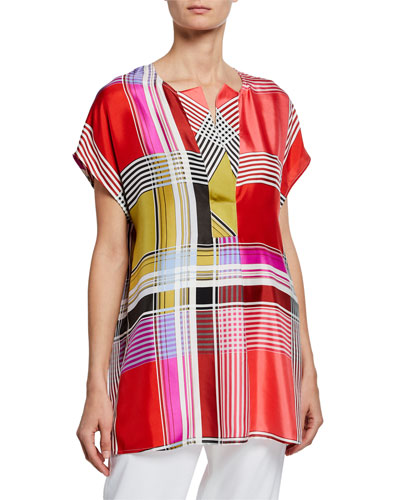 Madras Silk Split-Neck Top
