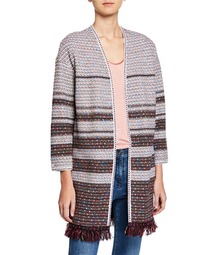Tweed Open-Front Fringe Cocoon Jacket