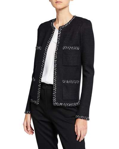 Modern Tweed Jacket w/ Knit Trim