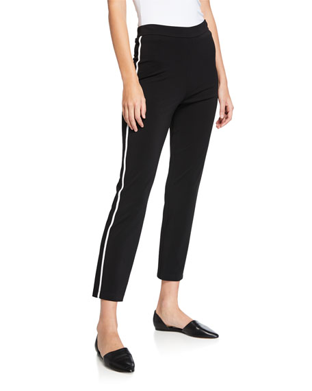 St. John Collection Matte Jersey Capri Pants w/ Contrast Knit Side