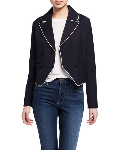 Double-Breasted Cropped Jacket w/ Piping