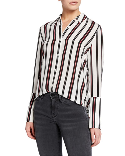 0234be7888c838 Quick Look. FRAME · Striped Button-Front Cuffed Silk Blouse