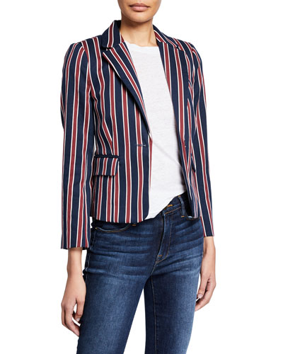 Shrunken Striped Cotton Single-Button Blazer