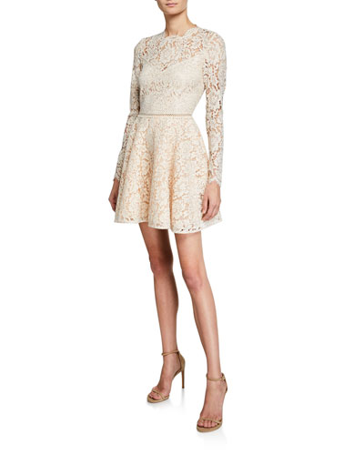 Corded Lace Long-Sleeve Mini Dress with Open Back