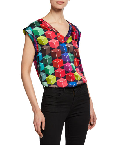 Carmen Geometric-Print V-Neck Cap-Sleeve Top