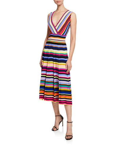 Striped Surplice Fit-and-Flare Midi Dress