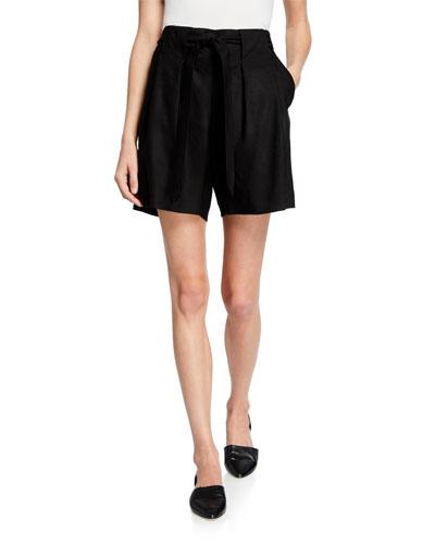 Pleated Linen Tie-Waist Shorts