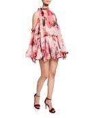 MSGM Abito Printed Tie-Neck Long-Sleeve Blouson Mini Dress