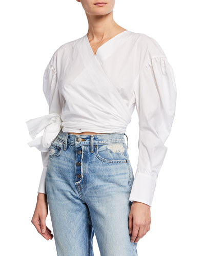 Puff-Sleeve Cropped Wrap Blouse