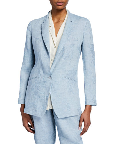 Fiandra One-Button Linen Jacquard Jacket