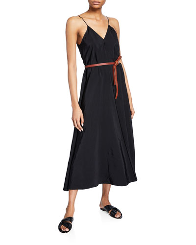 Bed V-Neck Sleeveless Belted Maxi Dress