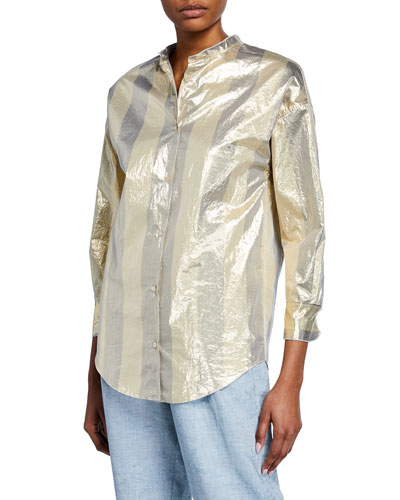 Metallic Striped Button-Front Top