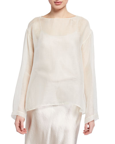 Slub Silk Gauze Boat-Neck Shirt