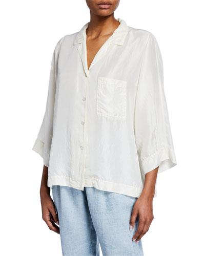Button-Front Silk Habutai Shirt