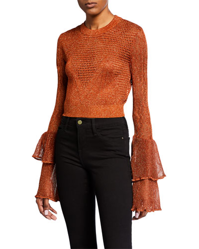 Cropped Metallic Knit Bell-Sleeve Top
