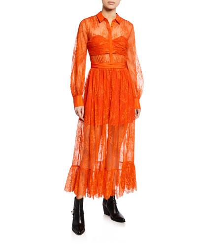 Floral Fine Lace Midi Dress