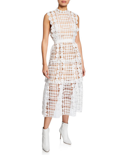 6beb000b681 Quick Look. Self-Portrait · Lattice Tiered Floral Lace Midi Dress