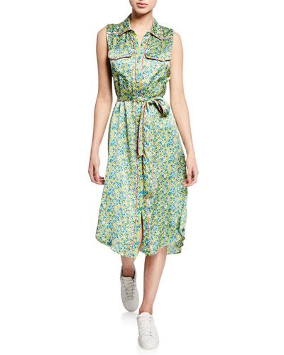 hazel floral button-down sleeveless dress