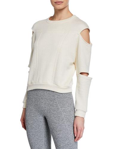 Slit-Sleeve Crewneck Sweatshirt