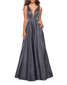 La Femme Plunge-Neck Sleeveless Two-Tone Satin Ball Gown
