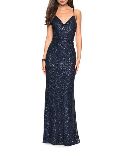 d465cb7c3bb Quick Look. La Femme · Sleeveless Ruched Sequin Gown with Open Strappy-Back