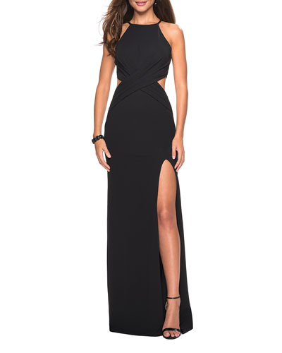 Halter-Neck Jersey Dress with Ruched Waist & Side Cutouts