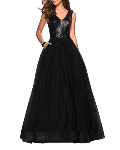 Sequin-Bodice V-Neck Sleeveless Tulle Ball Gown with Pockets