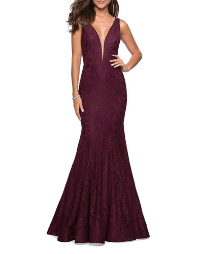 V-Neck Sleeveless Stretch-Lace Mermaid Gown