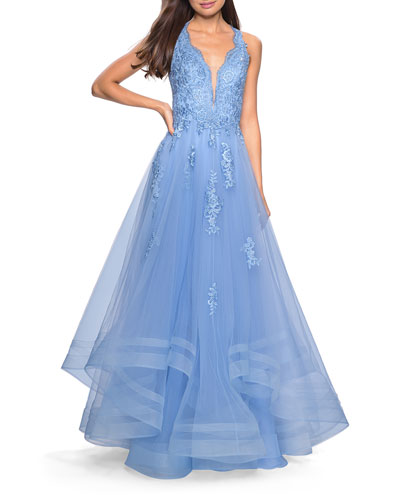 Plunge-Neck Tulle Ball Gown with Tiered Skirt & Lace Applique