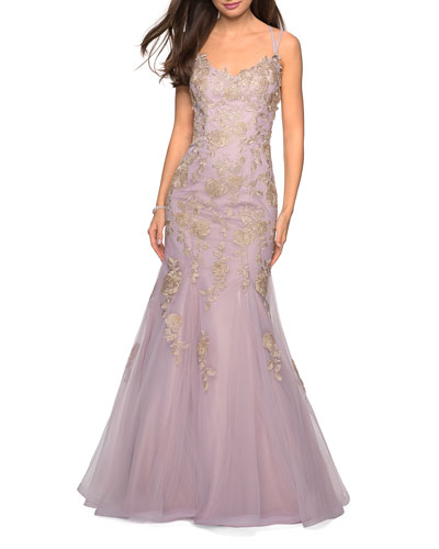 Sleeveless Golden Lace Applique Mermaid Gown with Strappy-Back