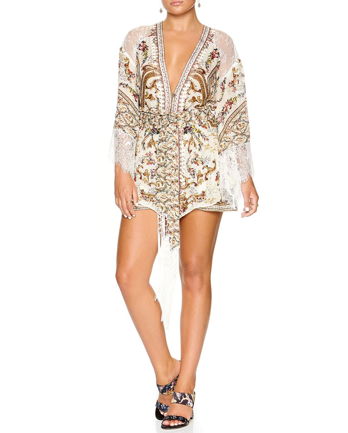 0e16755b7b98b Printed Silk Kimono w  Lace