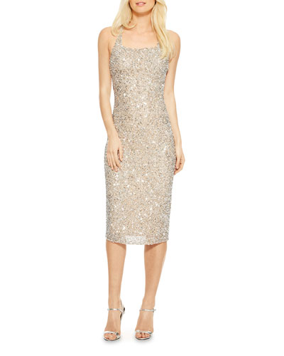 Sage Beaded Slip Crisscross Cocktail Dress