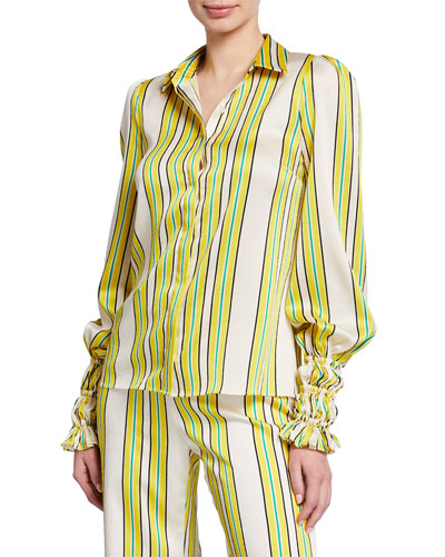 Catina Striped Button-Front Long-Sleeve Satin Top