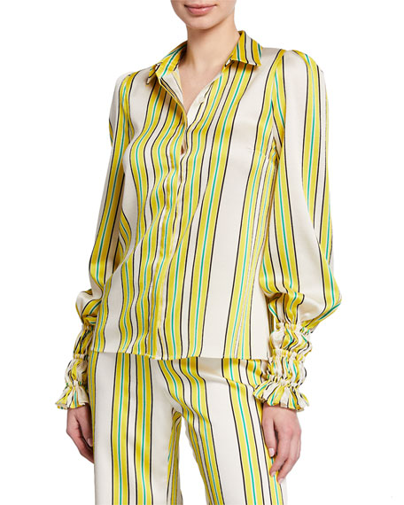 Alexis Catina Striped Button-Front Long-Sleeve Satin Top